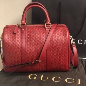 NWT Gucci Leather Micro Gg Guccissima Boston Bag